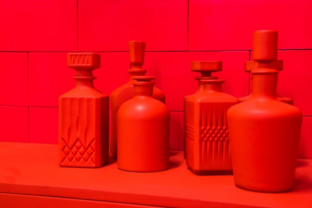 CJ Hendry Monochrome Greenpoint Brooklyn Exhibit Red Dining Room