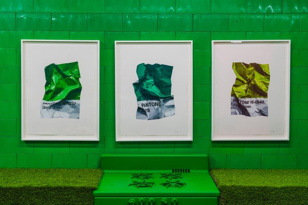 CJ Hendry Monochrome Greenpoint Brooklyn Exhibit Green Kitchen