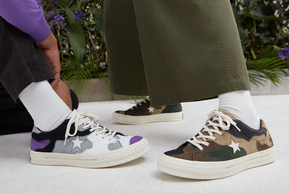 Sneakersnstuff Converse One Star Deep Lavender Camo Green On Foot Lookbook