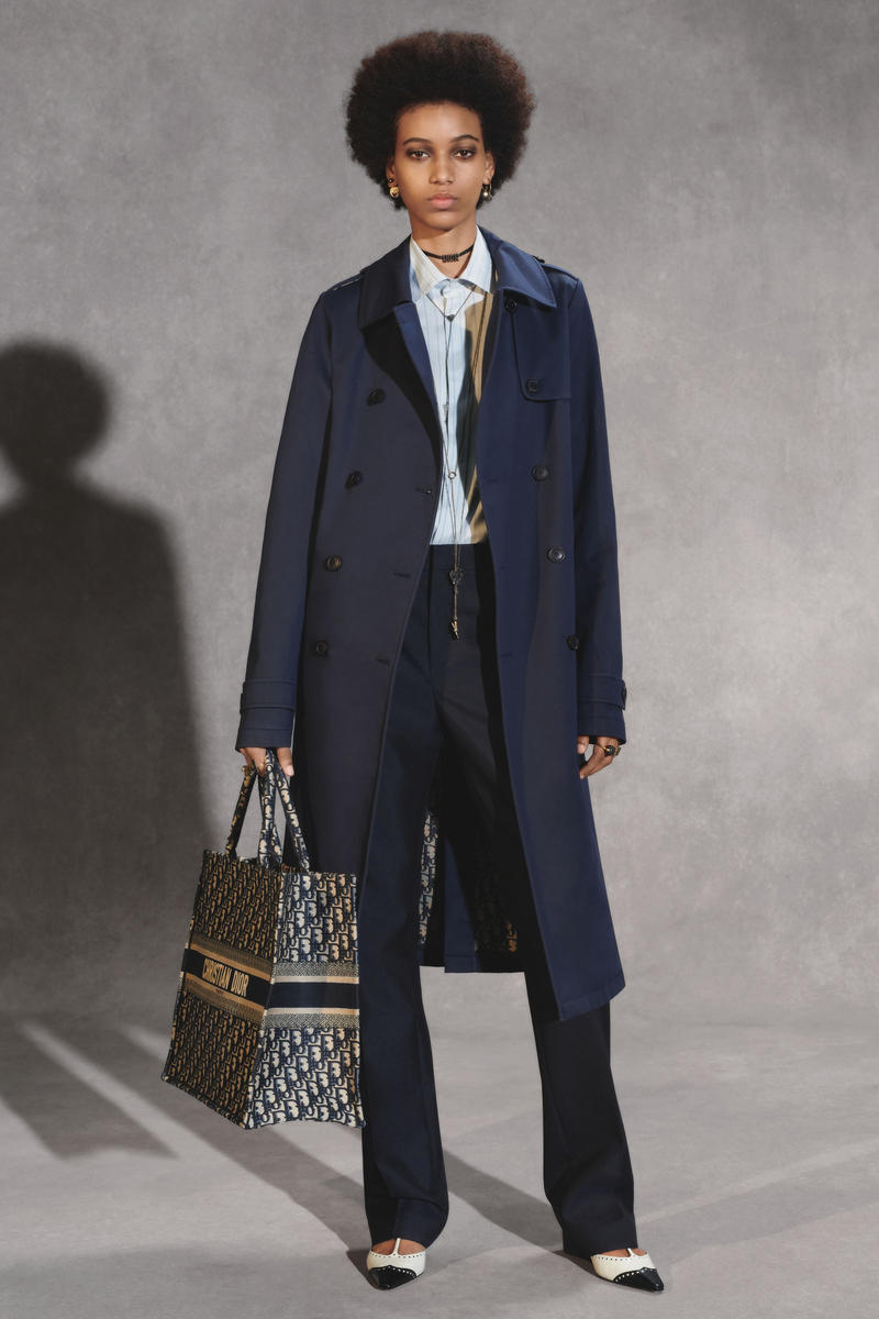 Dior Fall 2018 Collection Lookbook Raincoat Pants Collared Shirt Embroidered Book Tote Blue Tan