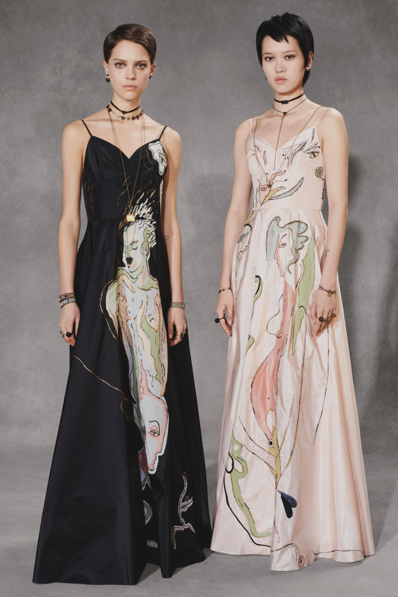 Dior Fall 2018 Collection Lookbook Silk Pattern Dresses Pink Black