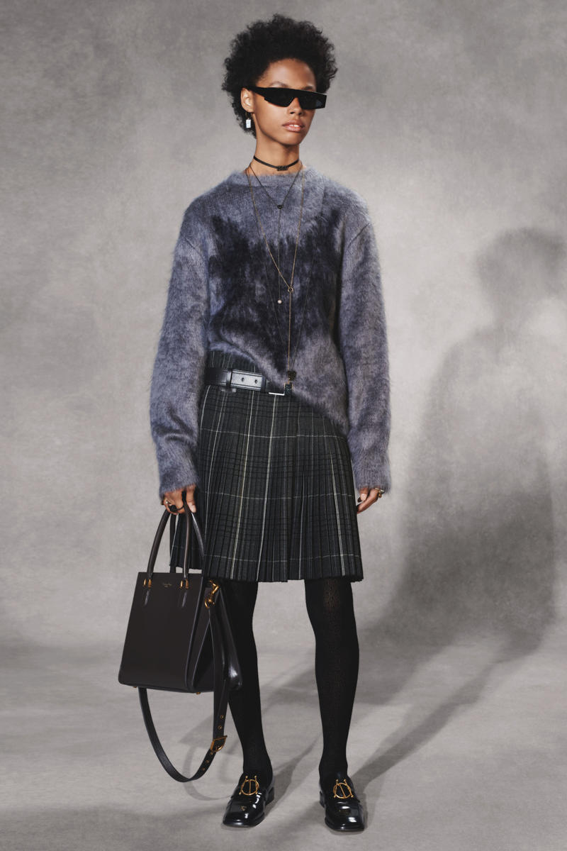 Dior Fall 2018 Collection Lookbook Sweater Plaid Skirt Leather Handbag Blue Navy Black