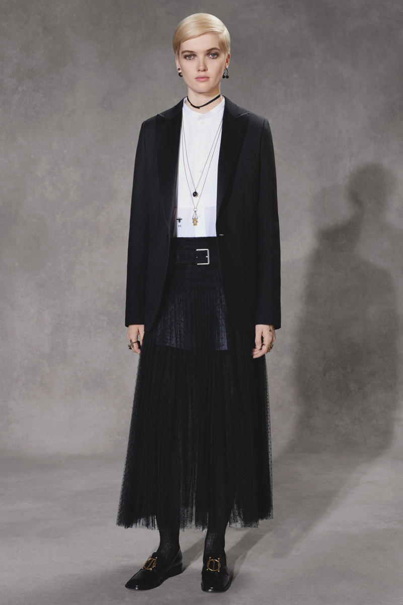 Dior Fall 2018 Collection Lookbook Blazer Sheer Skirt Black