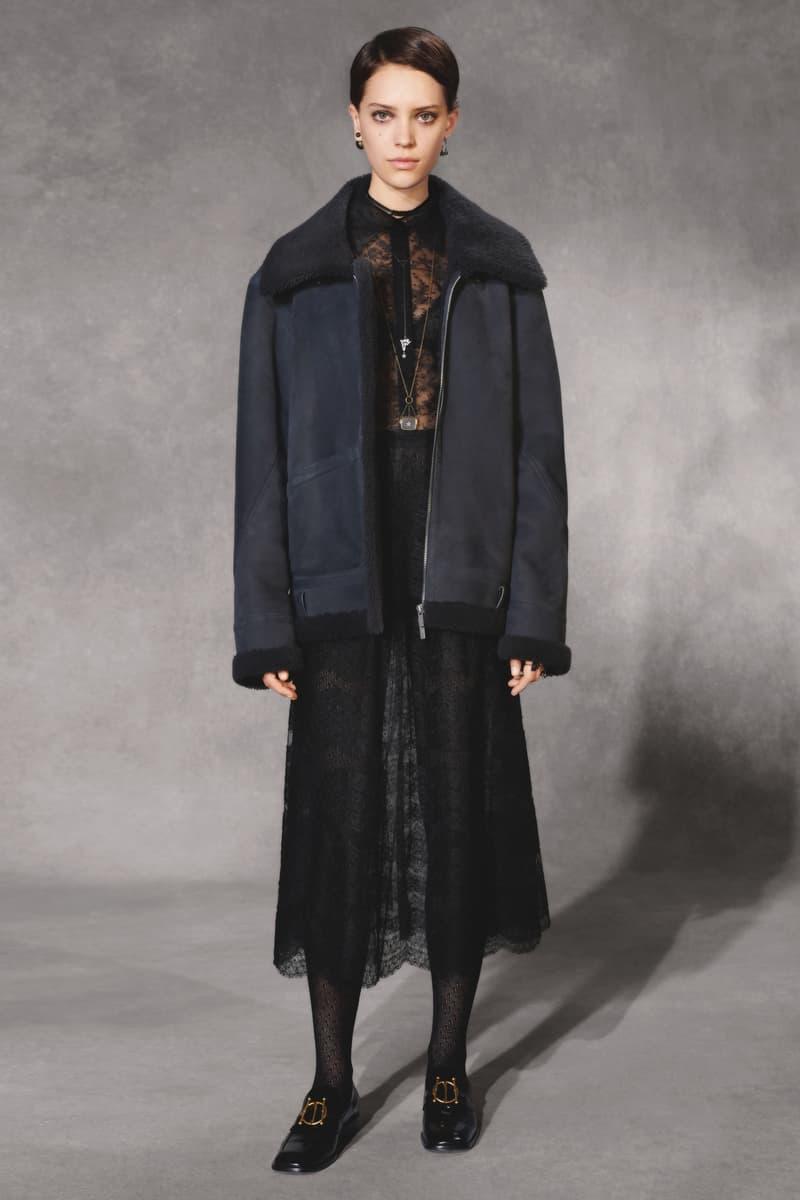 Dior Fall 2018 Collection Lookbook Oversized Fur Collar Coat Dress Black