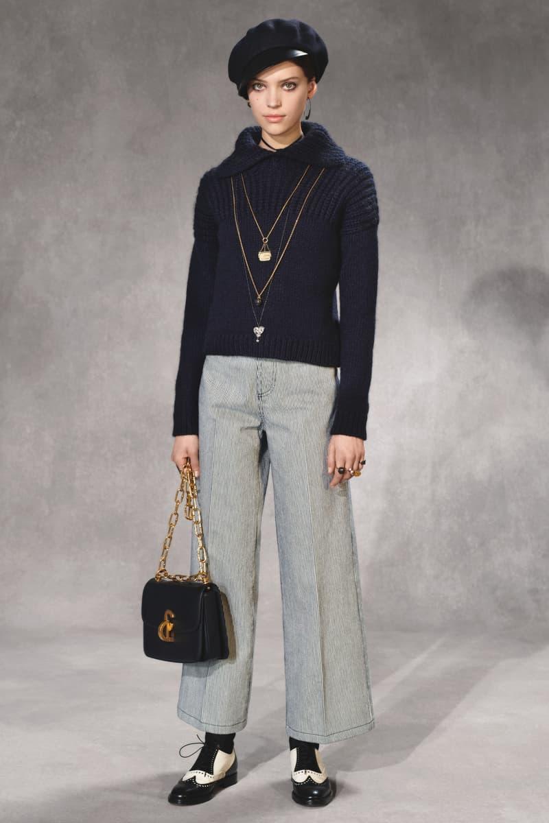 Dior Fall 2018 Collection Lookbook Sweater Pants Handbag Blue Striped Black Gold