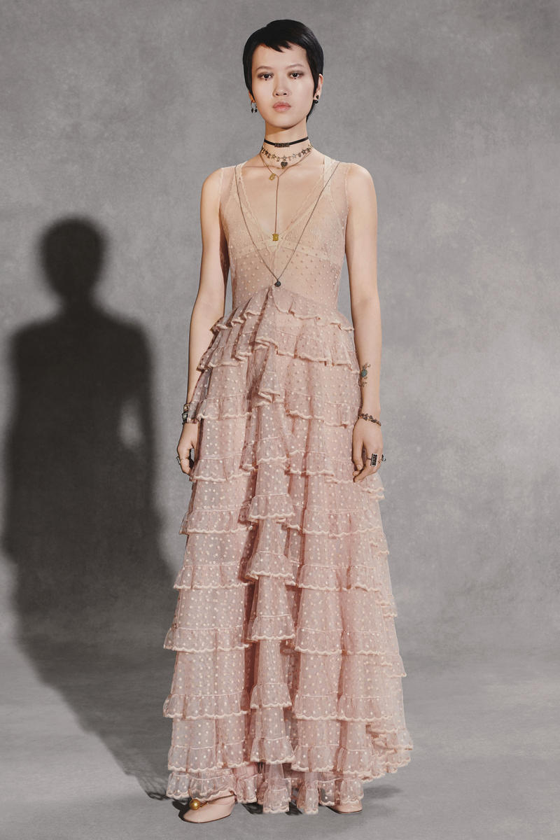 Dior Fall 2018 Collection Lookbook Sheer Tulle Short Sleeved Dress Pink