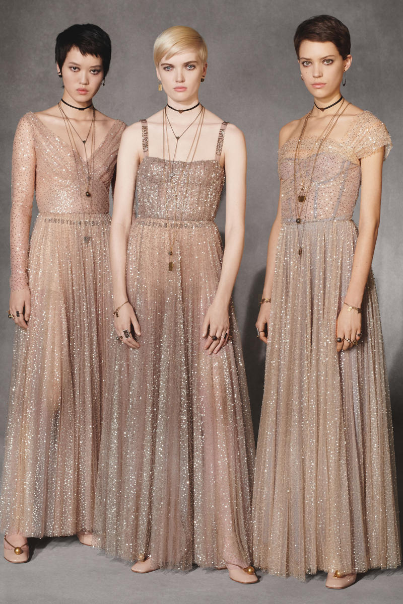 Dior Fall 2018 Collection Lookbook Sheer Tulle Dresses Tan