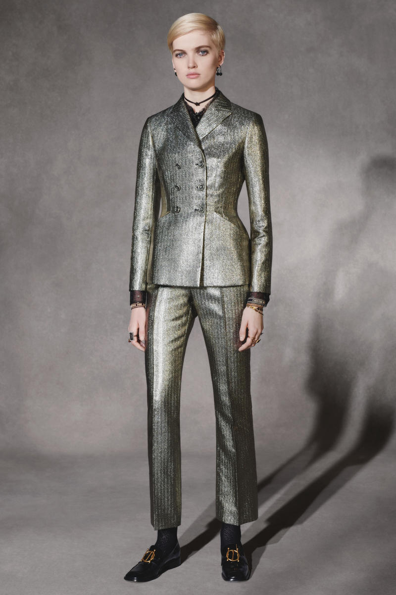 Dior Fall 2018 Collection Lookbook Suit Blazer Pants Silver