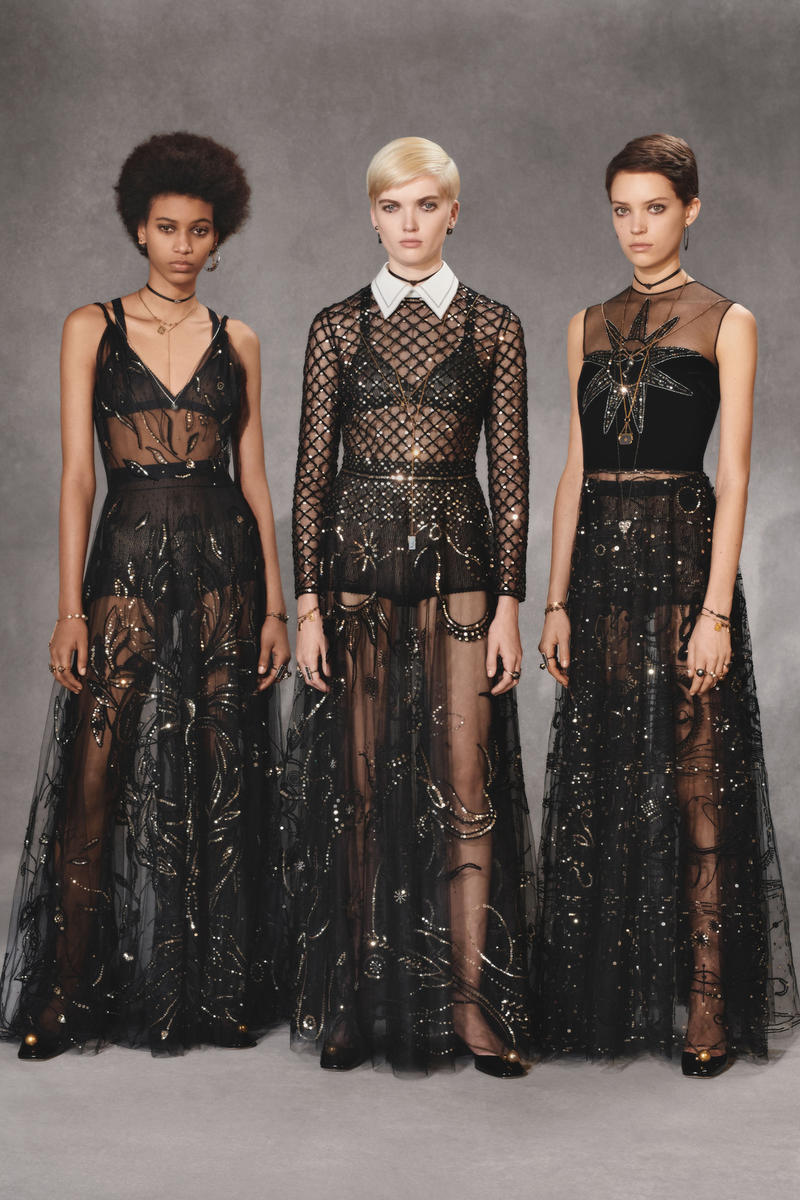 Dior Fall 2018 Collection Lookbook Tulle Sequin Gowns Black Gold