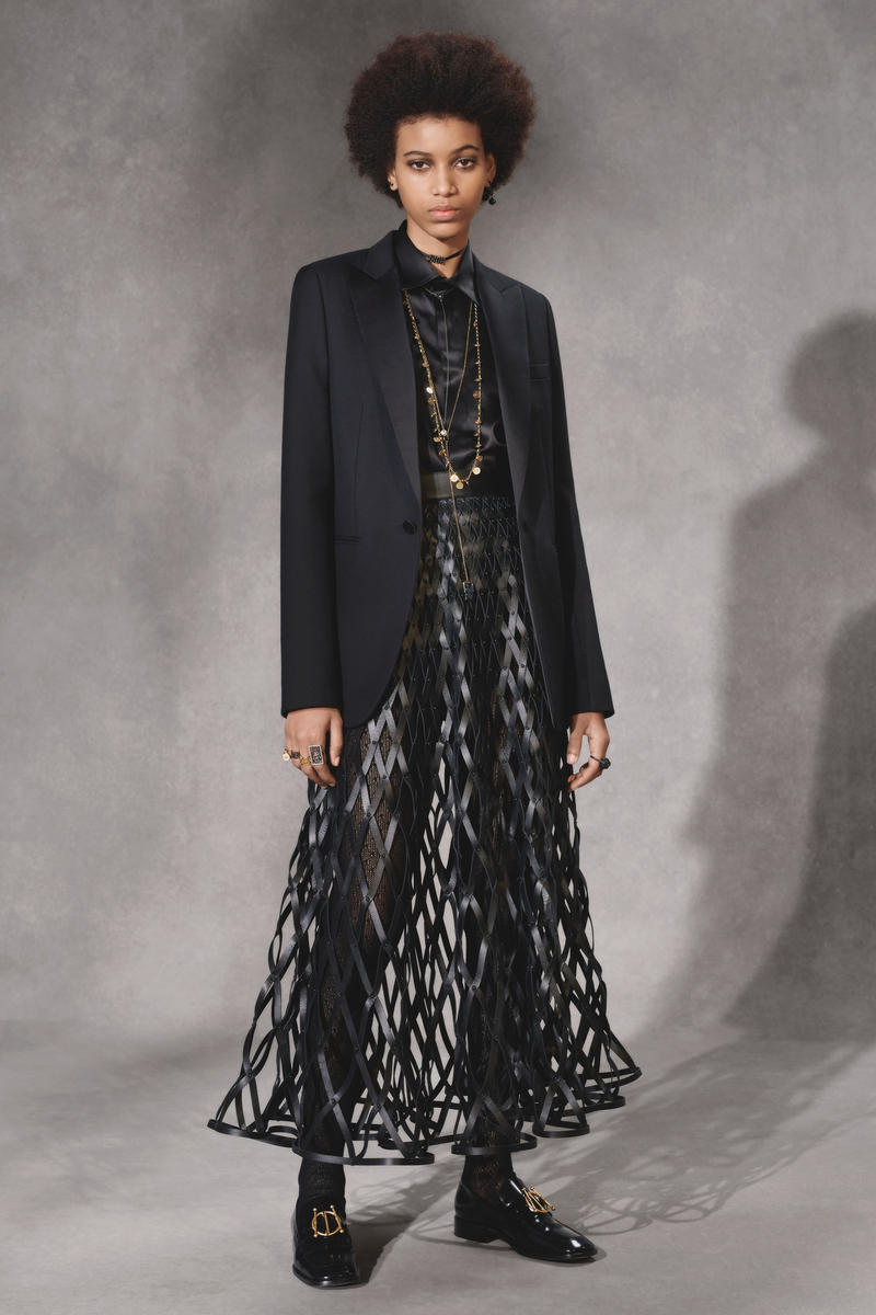Dior Fall 2018 Collection Lookbook Sheer Leather Dress Blazer Black