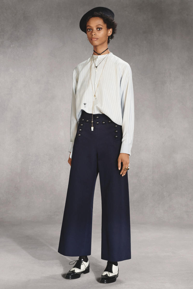 Dior Fall 2018 Collection Lookbook Longsleeved Shirt Wide Leg Pants White Blue