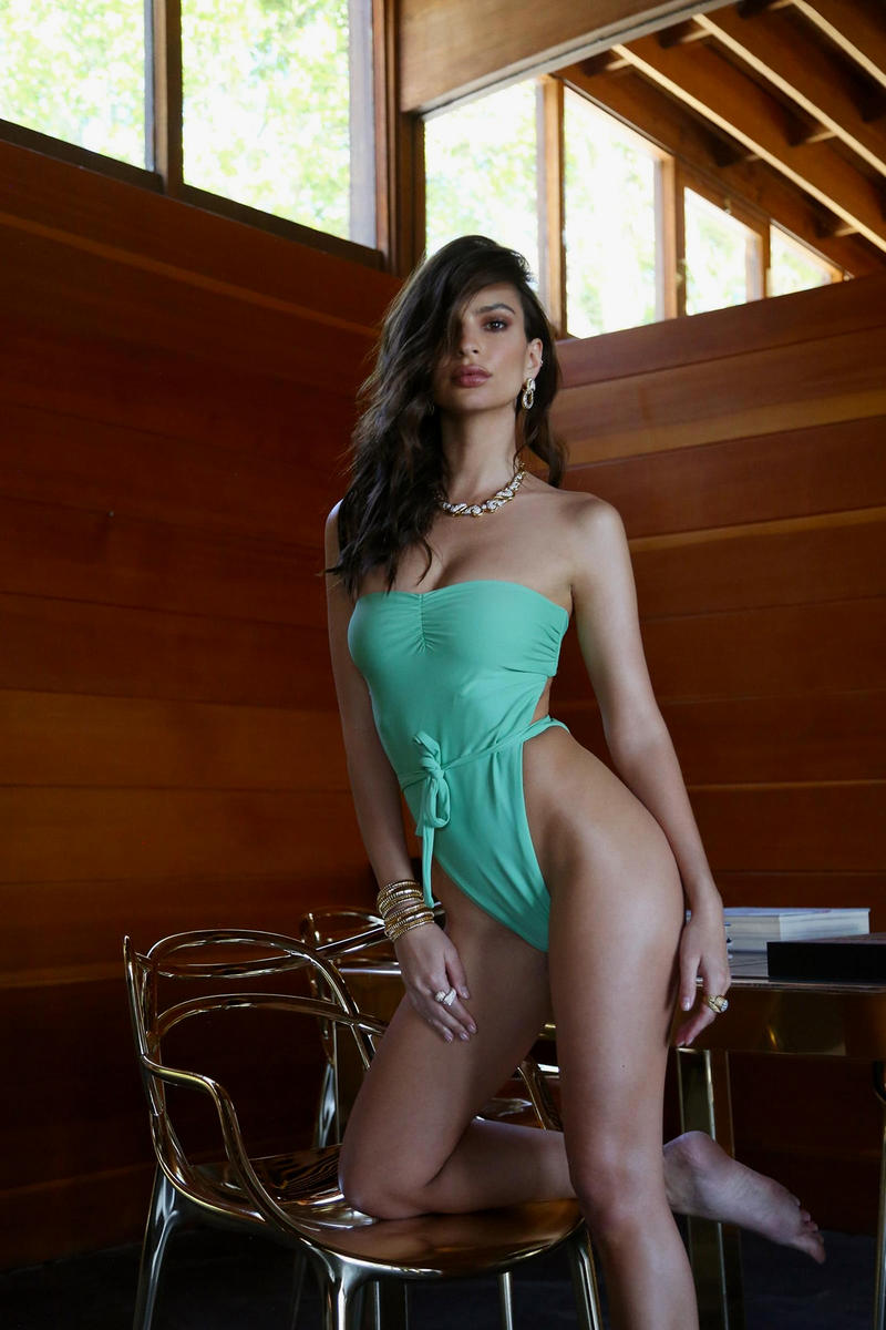 Emily Ratajkowski Inamorata Swim Swimwear Bikini Bathing Suit Two Piece One Polka Dot Blue Mint Green Spring Summer 2018 Lookbook Husband