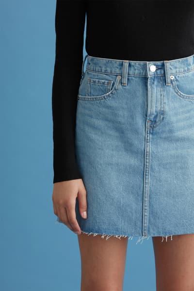 everlane denim shorts skirt medium wash frayed hem