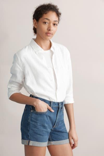 everlane denim shorts skirt medium wash
