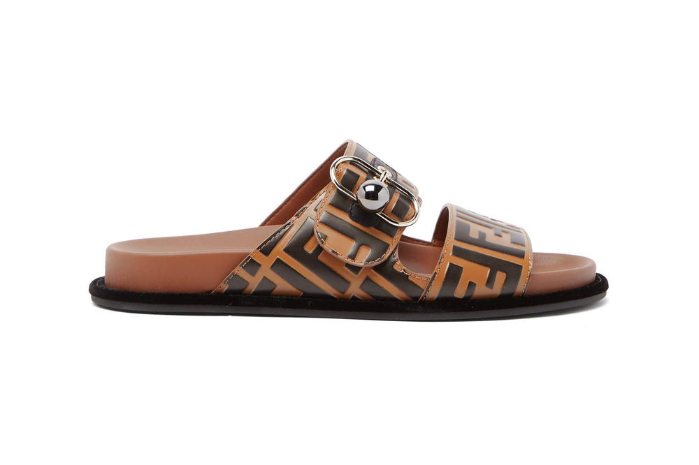 Fendi Logo Leather Slide Brown