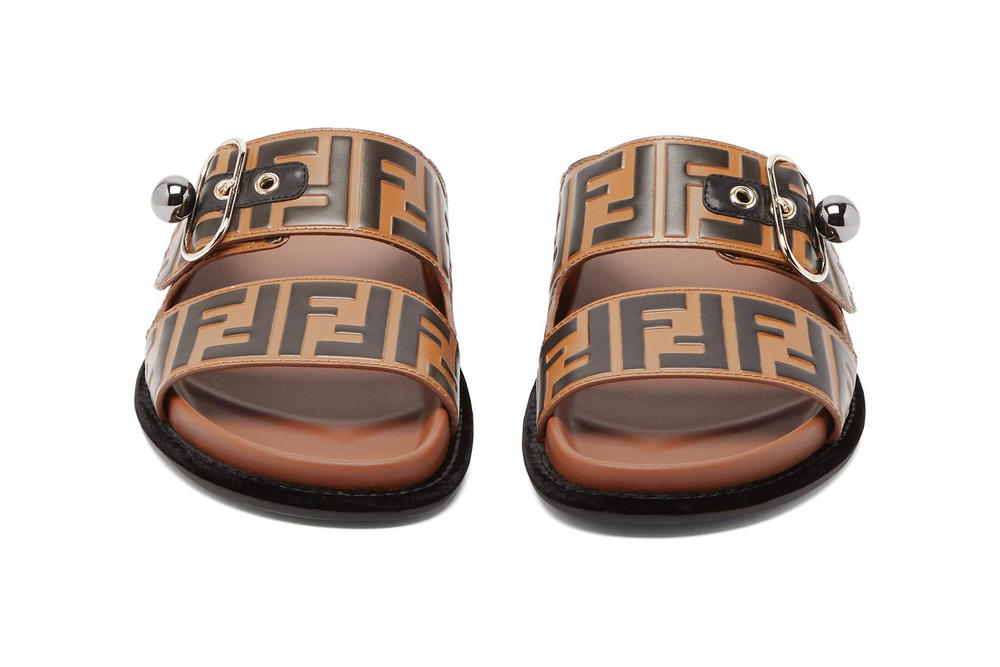 shop fendi s logo leather slides in brown hypebae