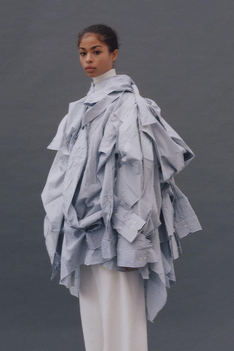 Feng Chen Wang Fall/Winter 2018 Collection Lookbook Boyfriend Shirt White Blue