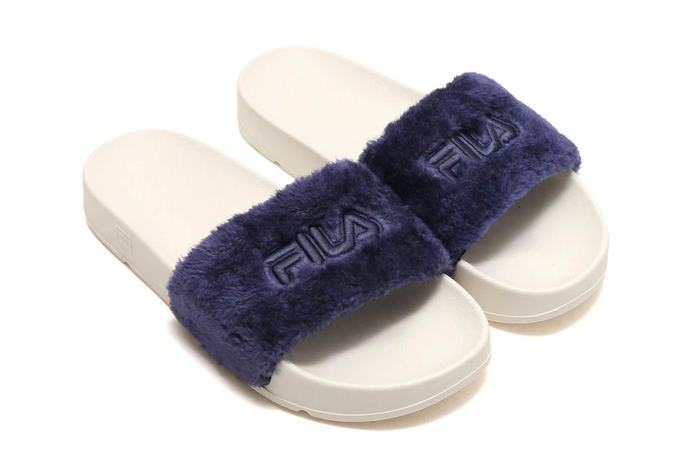 FILA Drifter Fur Slides Navy Blue Light Shop Price Where to Buy Release atmos Sandals Slippers Japan Summer 2018