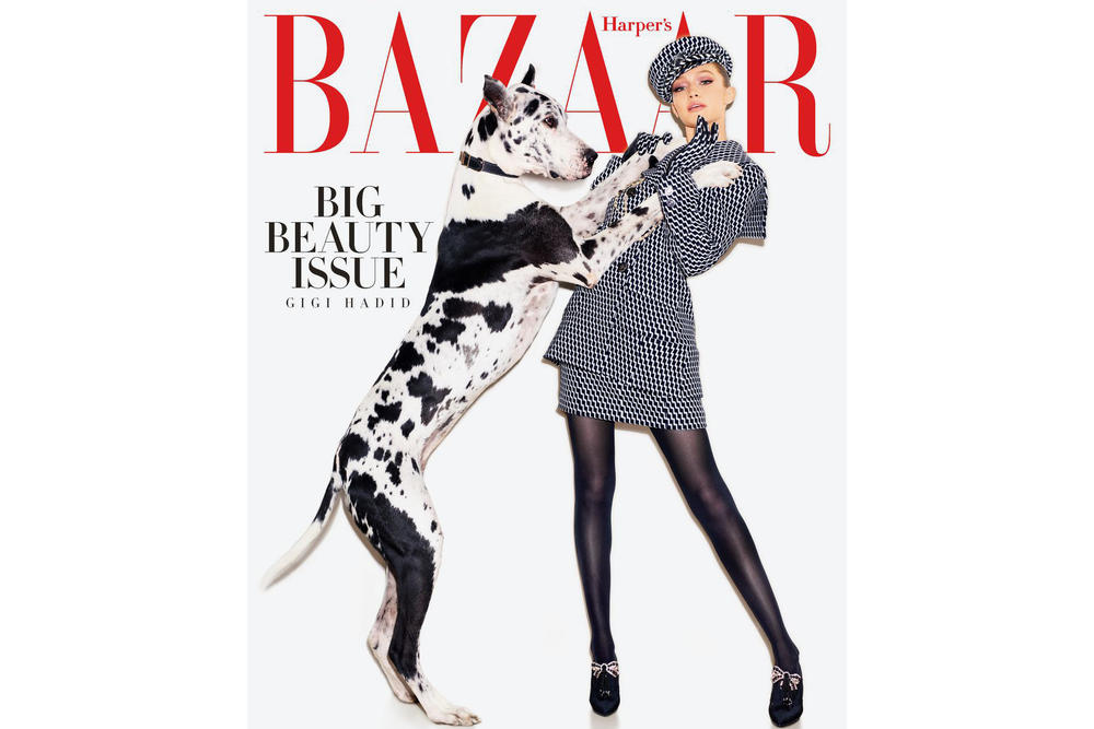 Gigi Hadid Harper's Bazaar May 2018 Issue Cover Editorial Magazine Dogs Puppies Dalmatian Interview Blake Lively Body Shamers Haters Instagram Social Media Trolls Woman Supporting