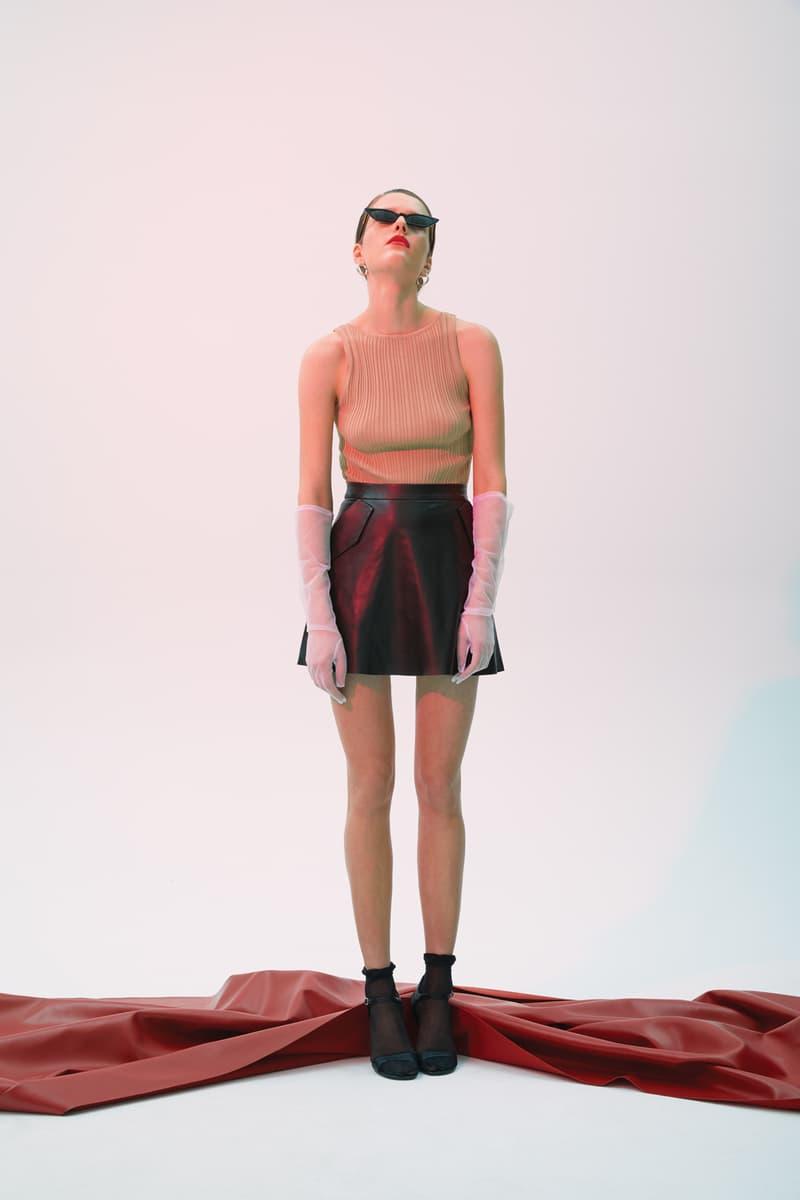 GRACE MA Cropped Shirt Leather Skirt Tan Black