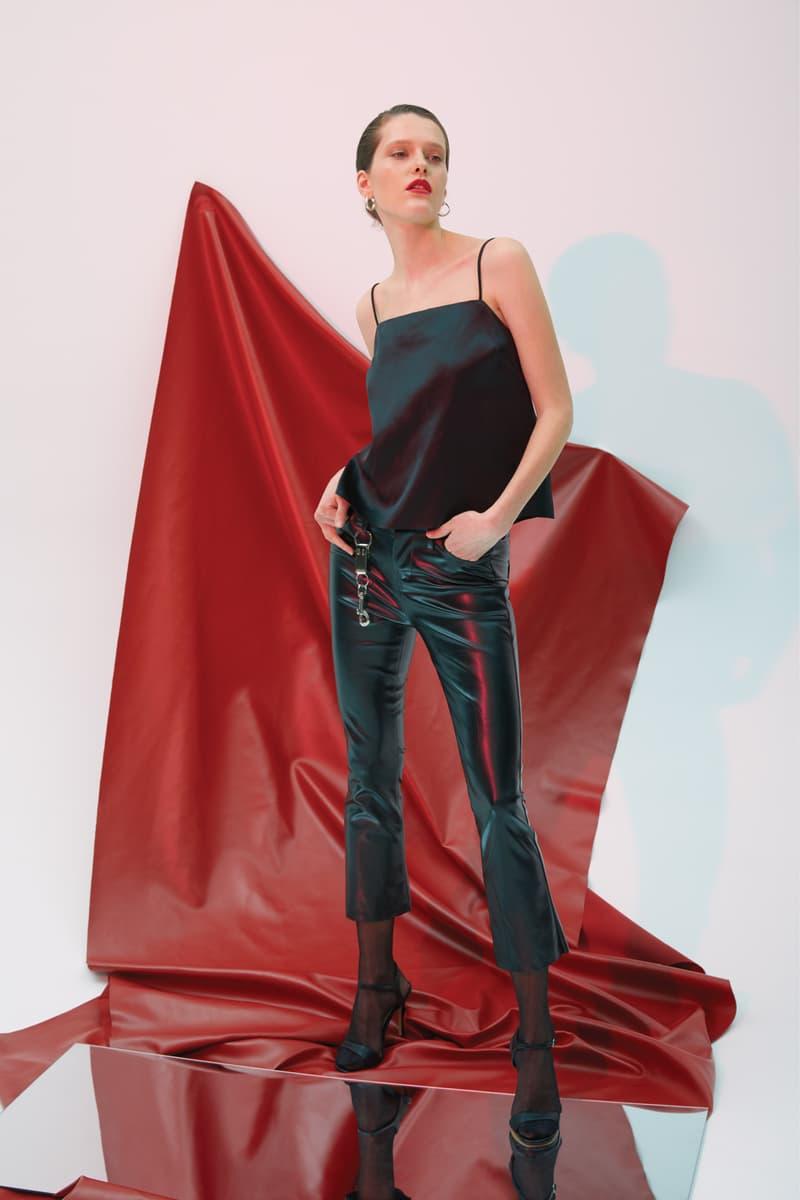 GRACE MA Leather Top Pants Black
