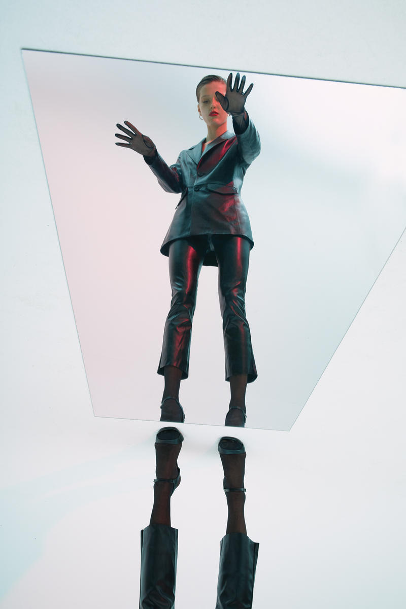 GRACE MA Leather Jacket Pants Black