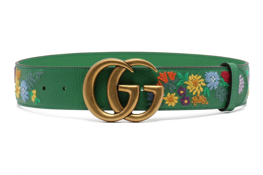 d7d33d2722c Gucci Double G Logo Floral Embroidered Green Belt Where To Buy Retro  Vintage Antique Gold Antonia
