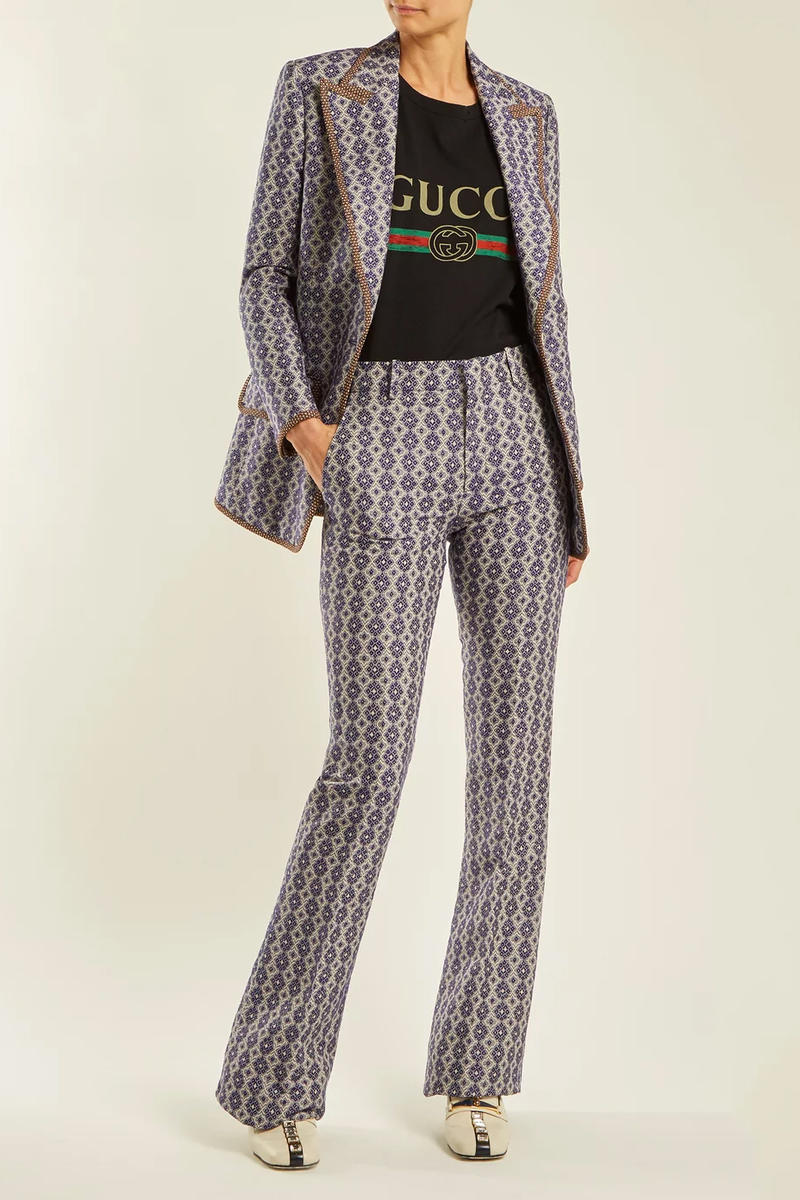gucci restock matchesfashion black vintage logo tee suit blazer trousers jacket heels