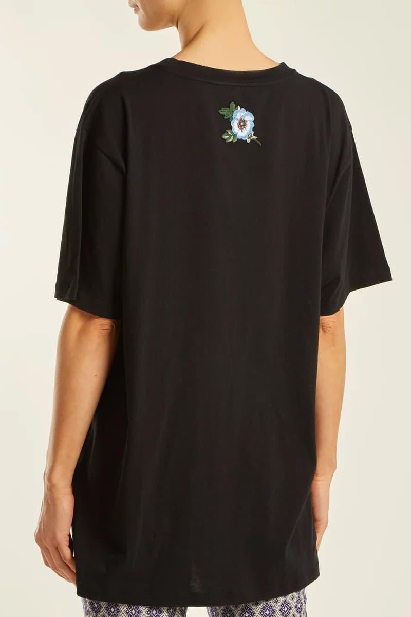 gucci restock matchesfashion black vintage logo tee back embroidery applique flower floral