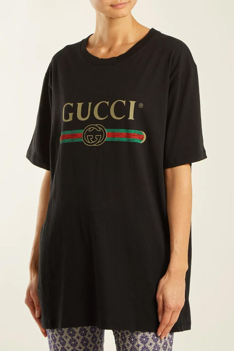 gucci restock matchesfashion black vintage logo tee front
