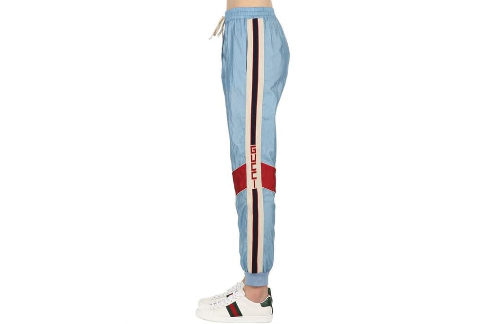 Gucci Logo Stripe Retro Sky Pastel Light Blue Nylon Track Pants Vintage Sportswear Women's Where to Buy Luisaviaroma