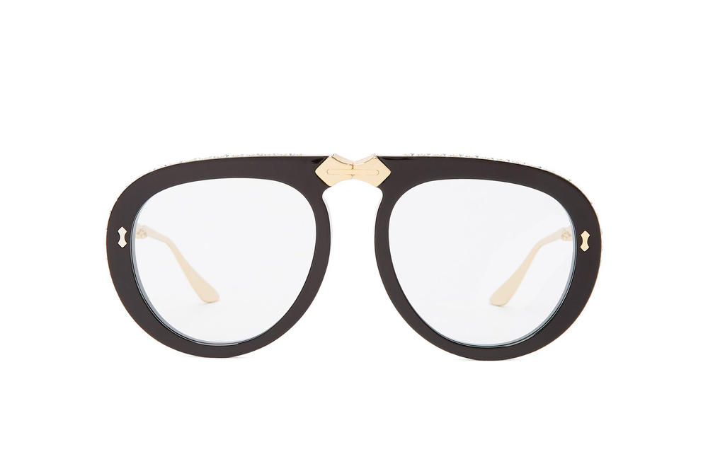 532bdc7d356 Gucci Foldable Round-Frame Embellished Sunglasses Black Crystal Gold Tone  Hardware Statement Eyewear Shades