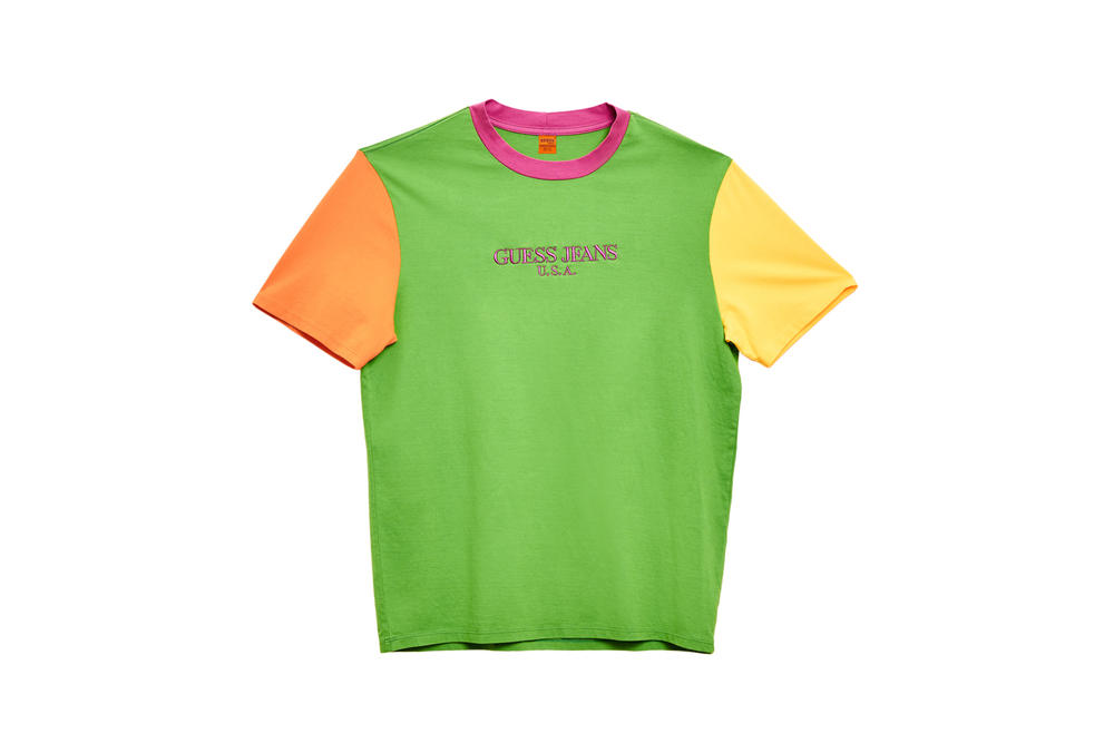 GUESS Jeans U.S.A. Farmers Market Capsule Collection Colorblocked T-Shirt Green Pink Yellow