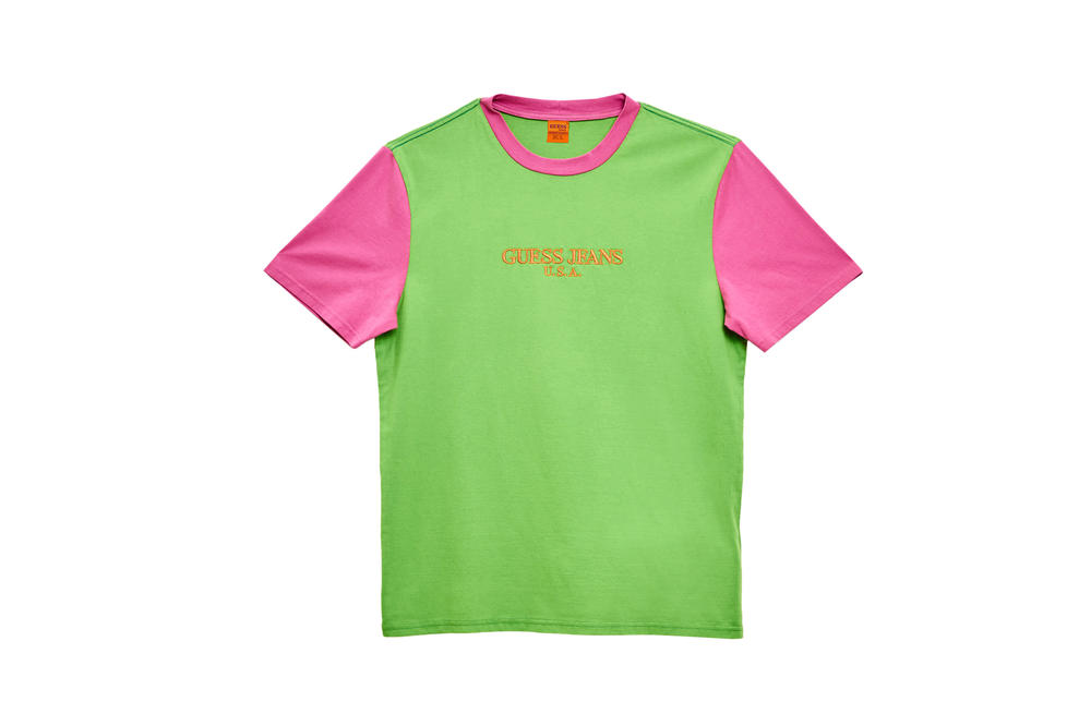 GUESS Jeans U.S.A. Farmers Market Capsule Collection Colorblocked T-Shirt Green Pink