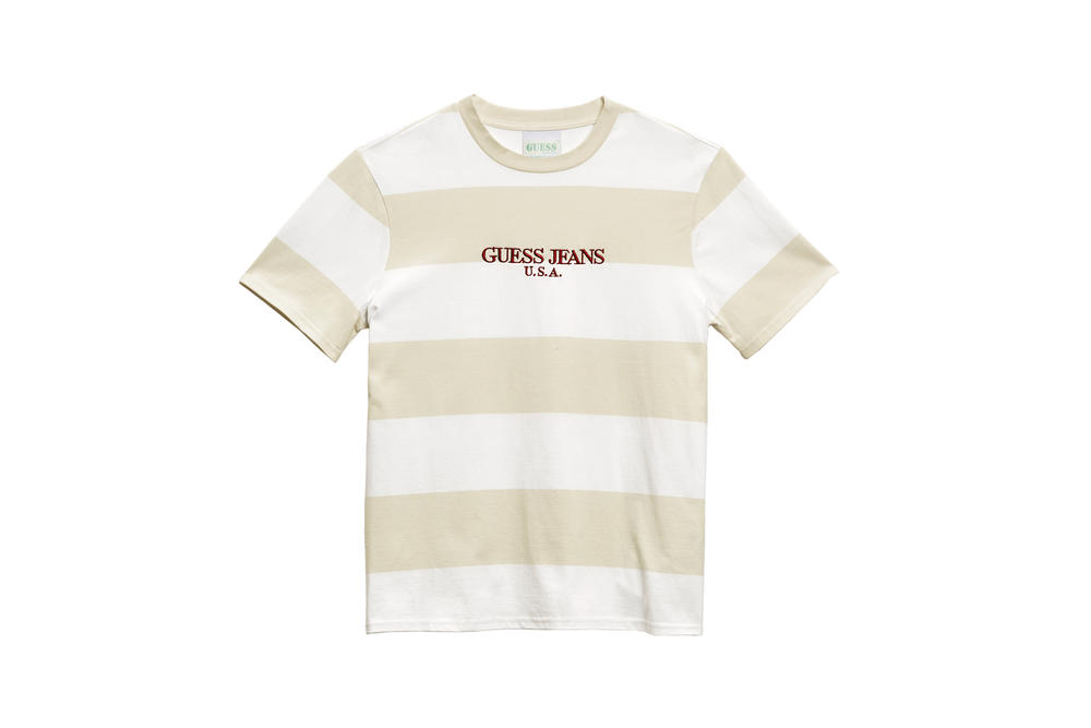 GUESS Jeans U.S.A. Farmers Market Capsule Collection Striped T-Shirt White Tan