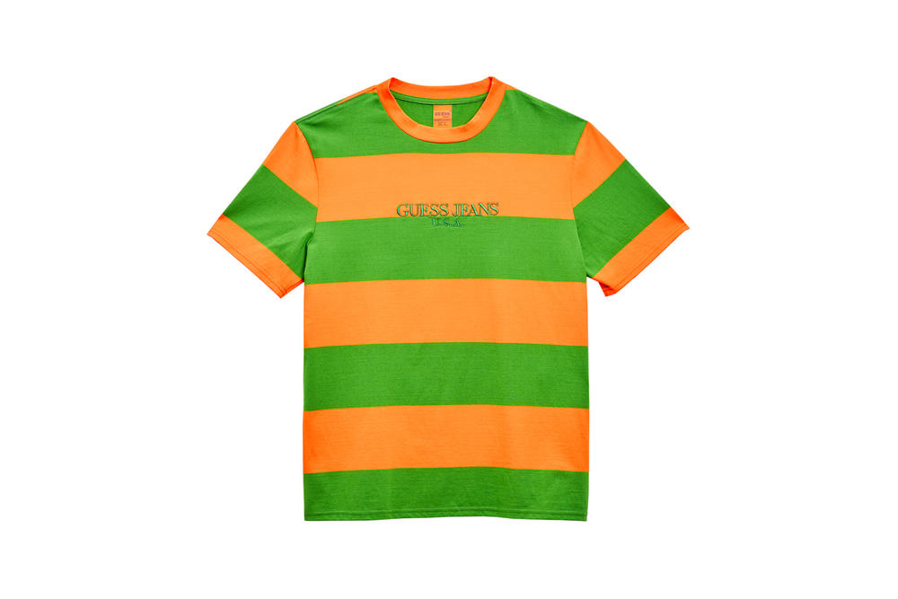 GUESS Jeans U.S.A. Farmers Market Capsule Collection Striped T-Shirt Orange Green
