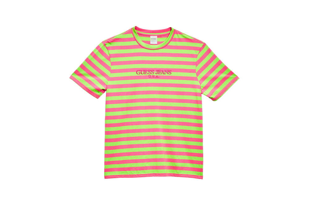 GUESS Jeans U.S.A. Farmers Market Capsule Collection Striped T-Shirt Green Pink