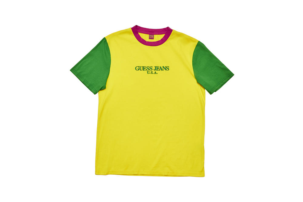 GUESS Jeans U.S.A. Farmers Market Capsule Collection Colorblocked T-Shirt Yellow Green