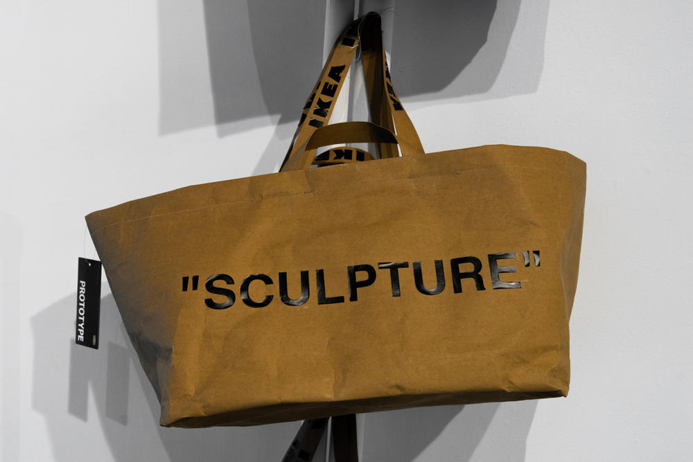 ikea virgil abloh off-white collaboration furniture home sculpture frakta tote bag