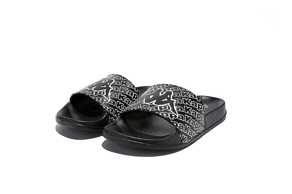 16b3fee7ee7 Kappa Black and White Logo Rubber Slides Sandals Shoes Spring Summer  Sportswear Athleisure Pool Beach Wear