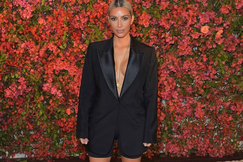 Kim Kardashian April 2018 ELLE USA Cover Yeezy Season 6 x 2XU Scuba Shorts Calabasas