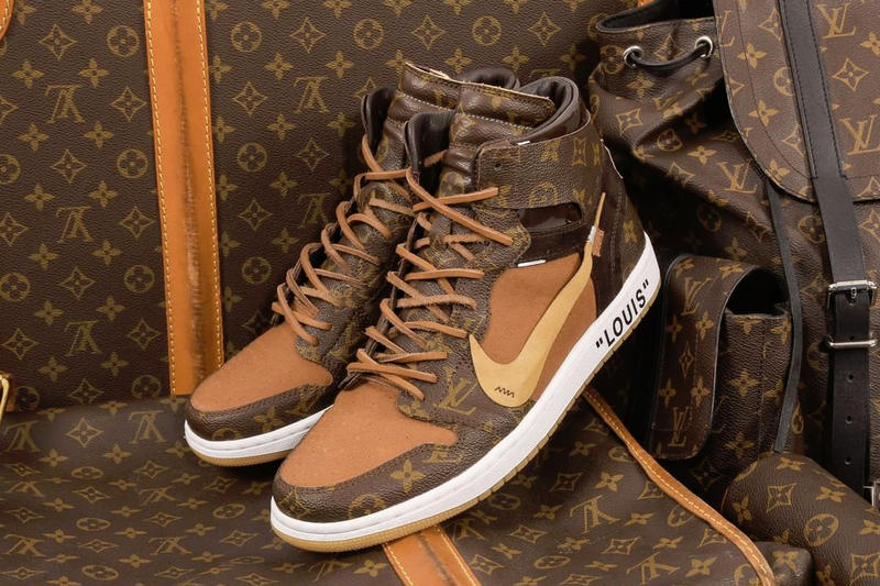 0d096784f7c92b louis vuitton virgil abloh off white nike air jordan 1 custom lv monogram  leather