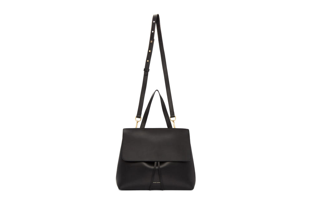 Mansur Gavriel Black Leather Lady Bucket Bag Simple Summer Shoulder Bag