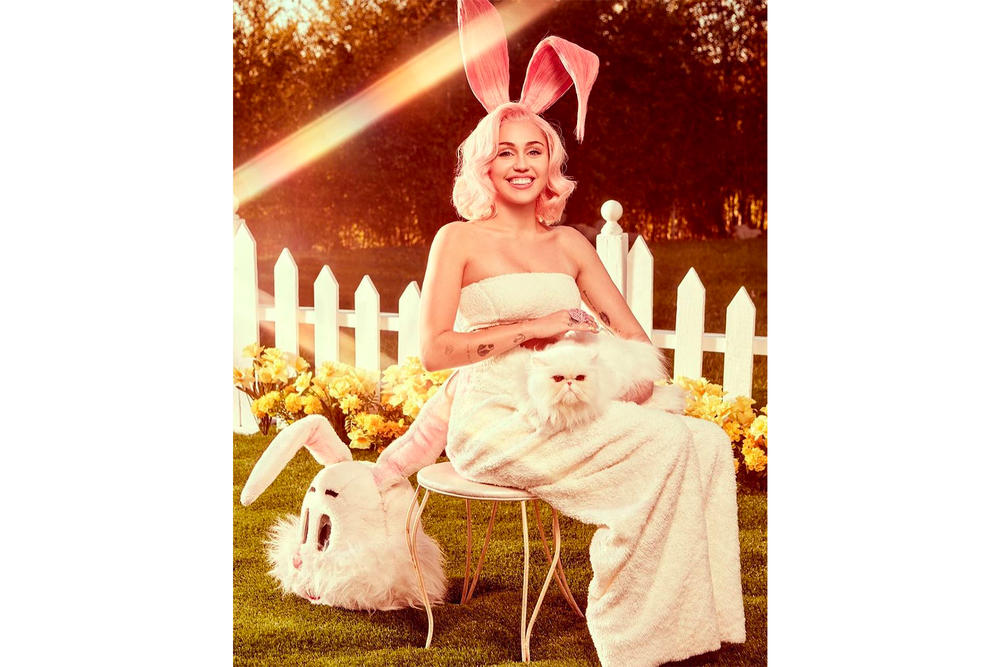 Miley Cyrus Easter 2018 Editorial Videos Photoshoot Pink Pastel Eggs Bunny Instagram