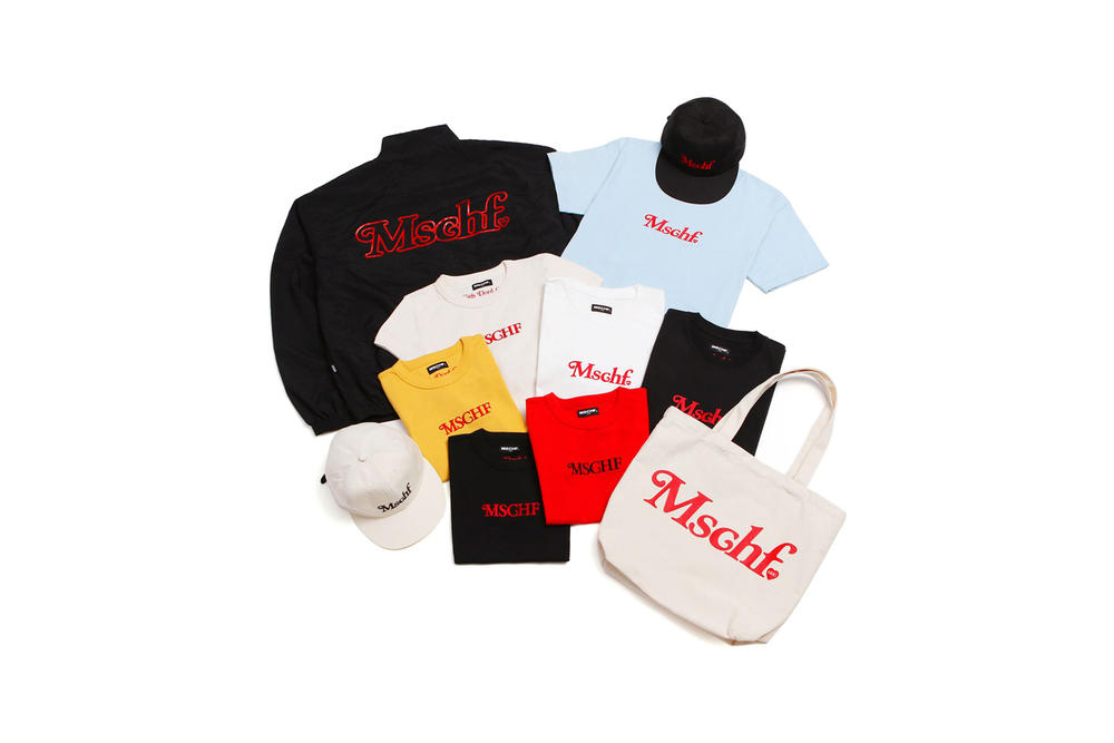 MISCHIEF Tokyo Pop-Up T-Shirts Windbreaker Jacket Tote Hats Black White Yellow Tan Blue Red