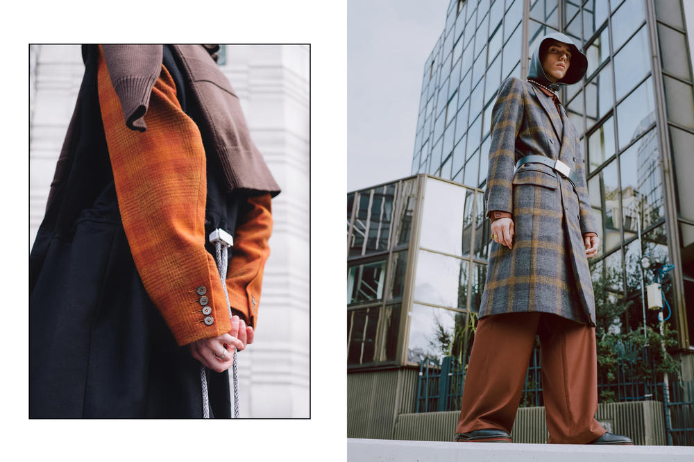 Necessity Sense Fall/Winter 2018 Collection Sneak Peek Blazer Crossbody Pouch Pants Plaid Grey Orange