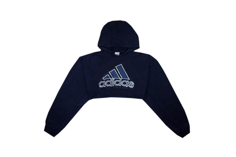 adidas Heritage Cropped Hoodie Navy Fruition
