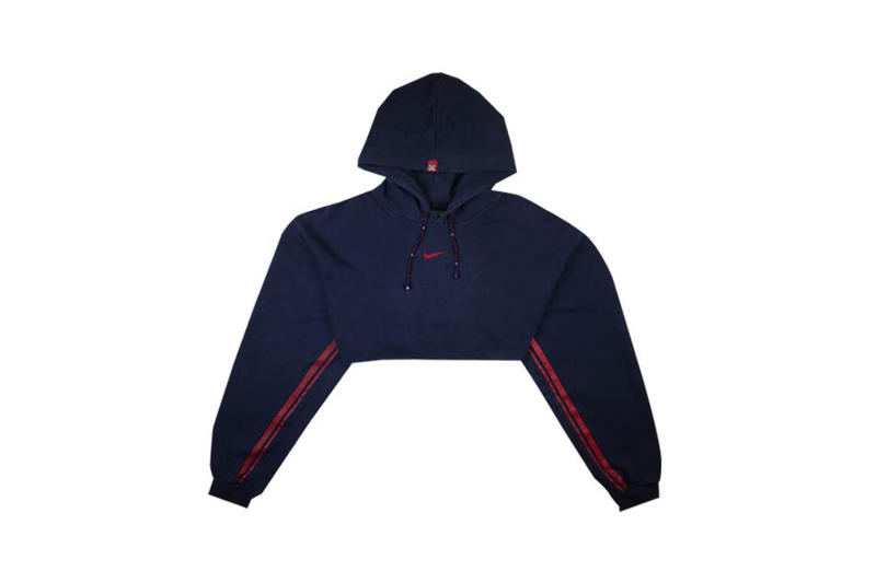 Nike Heritage Cropped Hoodie Navy Red Fruition