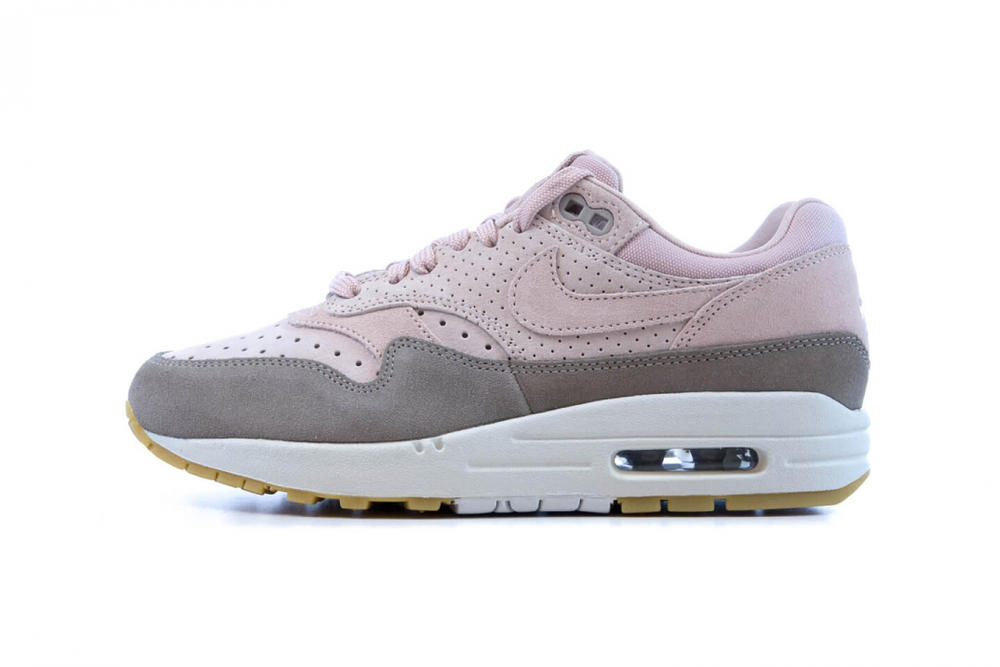 Nike Air Max 1 Premium Pink Particle Beige Suede Pastel Soft Perforated Women's Wmns where to buy