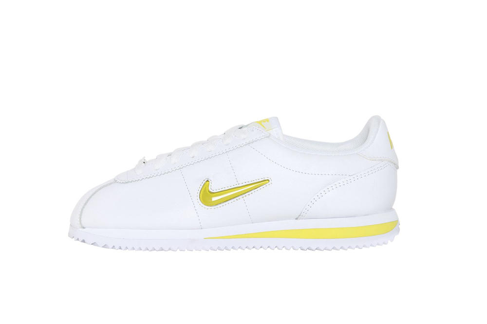 2db7a75dbd93 Nike Cortez Jewel in White Yellow Spring Colorway Fresh Crisp Minimal  Trainer Sneaker. 1 of 2